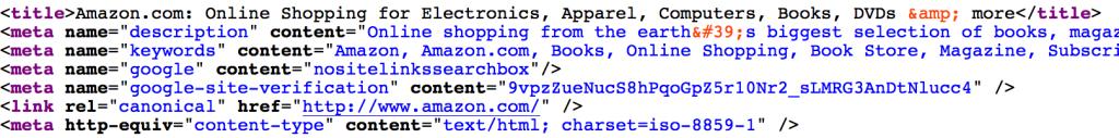 La balise title de la home d'Amazon.com contient 83 caractères espaces compris, ce qui correspond à une mauvaise pratique SEO (en théorie)