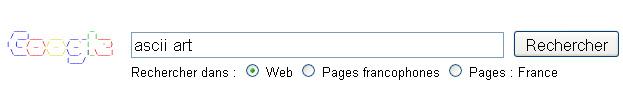 La recherche ASCII Art change le logo Google de la page de recherche