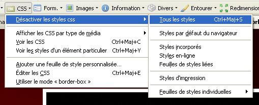 Désactiver les CSS avec le module Web Developper