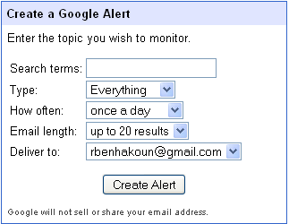 L'interface de Google Alerts