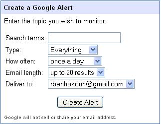 L'interface de Google Alerts
