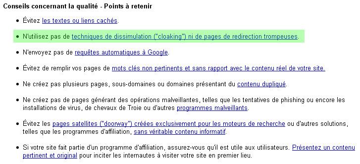 Les Guidelines de Google : il y a 6 ans, le « n'utilisez pas » de la phrase surlignée était autrefois un « évitez »