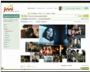 Jinni affiche des images en guise de résultats dont la taille varie en fonction de la pertinence