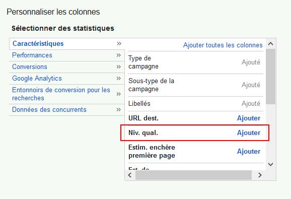 Note de qualité Google dans Adwords