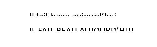 La phrase écrite en minuscule est plus lisible que celle écrite en majuscule