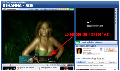 Un exemple de Toasted Ad sur Dailymotion