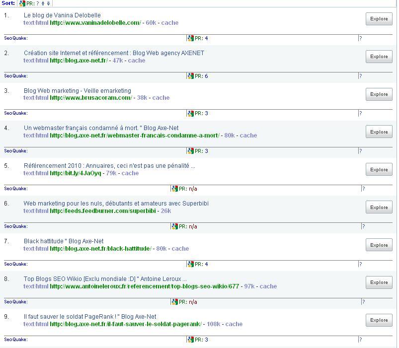Yahoo Site Explorer permet de voir les backlinks de chaque site